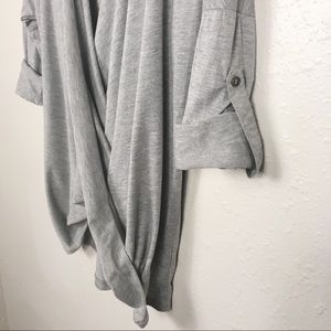 Lulu's Tops - Lulu's draped front roll hem v neck long sleeve